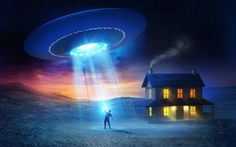 Download Wallpaper человек, abduction, дом, НЛО, UFO, flying saucer, section…
