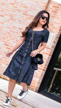 Edgy Fashion Tips Stylish Dresses, Cute Dresses, Casual Dresses, Modest Fashion, Girl Fashion, Fashion Dresses, Denim Fashion, Hijab Fashion, Denim Frocks