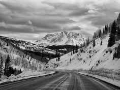 driving down Molas Pass in winter near Durango Colorado