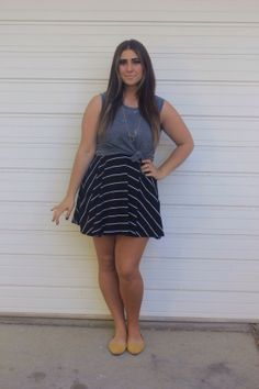 black & white dress with tied muscle tee & yellow flats outfit