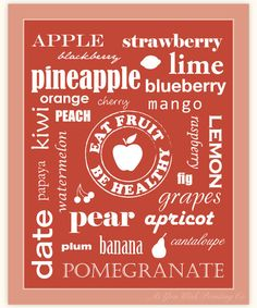 """Kitchen Art Eat Fruit Be Healthy 8x10"""" Print - Red Apple Typography. $15.00, via Etsy."""