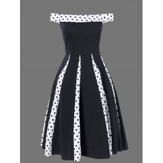 Polka Dot Trim Fit and Flare Dress