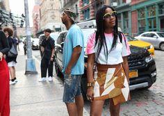 BG STREET STYLE /Jan Michael Quammie in a Palm Angels T-shirt