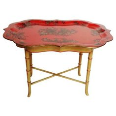 Check out this item at One Kings Lane! Chinoiserie Faux-Bamboo Tray Table