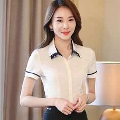 New summer fashion Red women shirt OL formal slim double collar short sleeve chiffon blouse white office ladies plus size tops