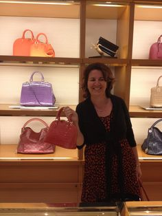 Belinda choosing a handbag - hmmm which colour?  I will have one in every colour!