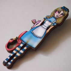$18.0 Alice and the Flamingo - Alice in Wonderland Brooch by Hungry Designs