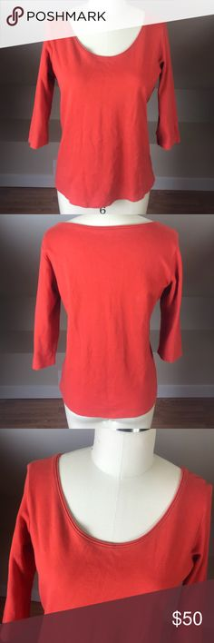 Eileen Fisher Quarter Sleeve Scoop Neck Shirt Preowned but in like new condition! No imperfections, stains, or holes! Smoke free home! 100% cotton. Color is redish orange. Eileen Fisher Tops