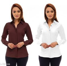 Shirts Trendy Poly Crepe Women's Shirts ( Pack Of 2)  *Fabric* Poly Crepe  *Sleeves* Sleeves Are Included  *Size* S - 36 in, M - 38 in, L - 40 in, XL - 42 in  *Length* Up To 24 in  *Type* Stitched  *Description* It Has 2 Pieces Of Women's Shirt  *Pattern* Solid  *Sizes Available* S, M, L, XL *   Catalog Rating: ★3.9 (120)  Catalog Name: Ladies Polycrepe Shirts Combo Vol 2 CatalogID_128001 C79-SC1022 Code: 205-1051106-