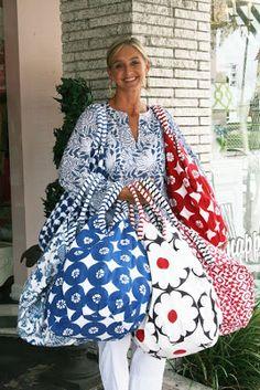 A Roberta Roller Rabbit Bondi Beach Bag in our Lantana block print ...