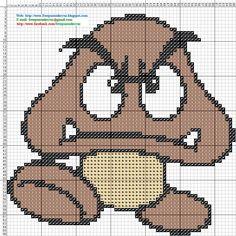Goomba Mario Bross Cross Stitch - Punto de cruz 12 x 12 centímetros 66 x 66 puntos 3 colores DMC