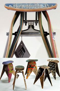 Deckstool use recycled skateboards to make stools - in this design they even included an 'Independent' skate truck into their design frame! Skateboard Shelves, Skateboard Room, Skateboard Furniture, Skateboard Design, Small Projects Ideas, Skate And Destroy, Skate Art, Industrial Design Sketch, Skateboards