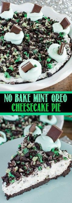 No Bake Mint Oreo Cheesecake Pie is an easy dessert recipe you will make over and over again. One cool, creamy, bite and everyone will be begging for more! (no bake frozen desserts) Easy No Bake Desserts, Easy Desserts, Delicious Desserts, Dessert Recipes, Yummy Food, Dessert Ideas, Simple Dessert, Frozen Desserts, Fruit Recipes