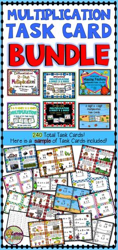 Multiplication problems - all types including story and word problems. Great value at almost 50% savings on highly rated multiplication task cards from Caffeine Queen!