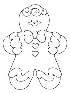 Free Printable Gingerbread Man Coloring Pages For Kids See More Applique Or Embroidery Pattern