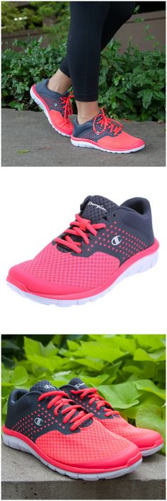 Up your pace in style in the Coral and Grey Gusto cross trainer!