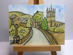 Items similar to ACEO original ink and watercolour - Hayfield, High Peak, Derbyshire, England on Etsy Derbyshire, Watercolour Painting, Miniatures, England, Ink, The Originals, Cards, Etsy, England Uk