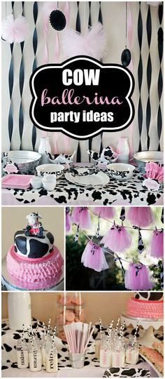 This cow ballerina girl birthday party is such a great idea!  Combine two favorites in one! See more party planning ideas at CatchMyParty.com!