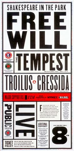 Flyer Goodness: 16 Years of New York Theatre Posters by Paula Scher of Pentagram