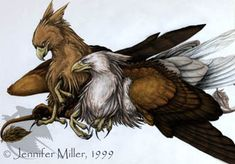 Two Gryphons snuggling, drawn by Jennifer Miller