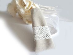 Linen and lace wedding favors shabby chic style by lalunadianna