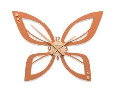Wall art clock butterfly terracotta color