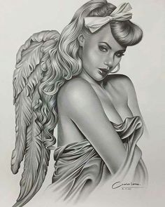 Wings project a spiritual and inspirational symbol and stand for flight. On the various other hand, in case you put on angel wings tattoo layout it expresses romantic gesture. Pin Up Tattoos, Body Art Tattoos, Girl Tattoos, Chicano Tattoos, Chicano Art, Engel Tattoo, Angel Artwork, Lowrider Art, Angel Drawing