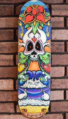 EsKape  Hand Painted Skateboard by SkinnyManStudios on Etsy,