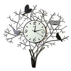 """Decorative Clocks - Artistic Metal Wall Clock - 26""""Birds on Tree Wall Clock in metal"""