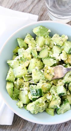 Cucumber, Avocado & Feta Salad by ratingle #Salad #Cucumber #Avocado #Feta #Healthy