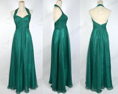 Green Prom Dresses, 2014 Prom Gown, Halter Sweetheart Long Chiffon Dark Green Prom Dresses, Evening Gown, Bridesmaid Dresses, Formal Gown on Etsy, $139.00