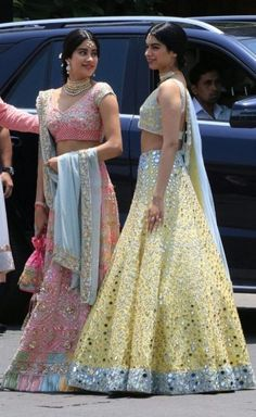 Sisters making everyones atire a flop Indian Party Wear, Indian Wedding Outfits, Bridal Outfits, Indian Wear, Indian Outfits, Indian Designer Outfits, Designer Dresses, Indian Lehenga, Lehenga Designs