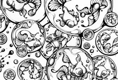 I find Nanami Cowdroy so inspiring and hope to use her work to help me start to design my own colouring in pages. Her work is mesmerising. Bubble Drawing, Black And White Google, Black White, Drawing Exercises, Pen Sketch, Nanami, Illustrations, Animal Drawings, Ink Drawings