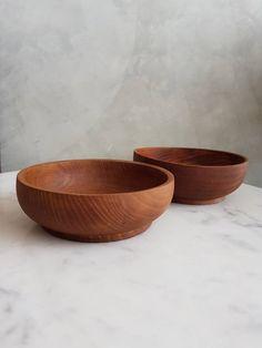 Danish Design, Teak, Serving Bowls, Mid Century, Tableware, Vintage, Tent, Handmade, Dinnerware