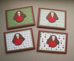Little Robins  Set of Four Mini Christmas by CraftyMushroomCards, £3.00