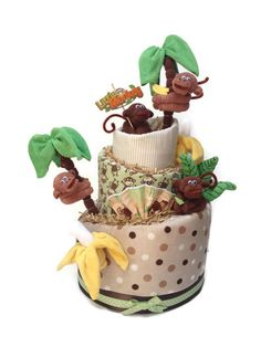 Little Monkey, Topsy turvy, Diaper Cake, Jungle baby shower, centerpiece, Decoration, nursery decor, Safari Baby Shower, Elephant, lion