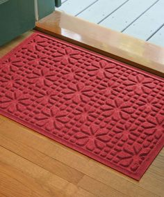 Red Stained Glass Aqua Shield Doormat