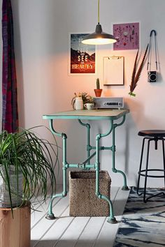 "Rustic Pipe Table - Urban Outfitters -   Online Exclusive Rustic Pipe Table  $199.99  $329 Color mint  SIZE - Length: 24"" - Width: 52"" - Height: 34"""