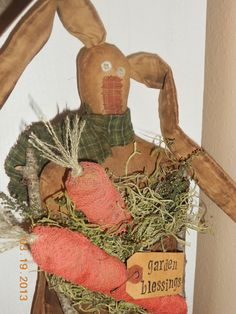 Primitive Bunny RabbitGarden Blessingstbu831 by ThingsByUs13, $22.95