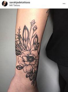 Tattoo by @sarahjadetattoos bottanical tattoo flower tattoo bird tattoo girl tattoo black and grey tattoo cute tattoo