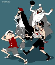 Garb, Shanks, Ace and Luffy one piece