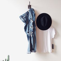 The best white tee and our favorite destroyed denim. All available online with FREE shipping! #shopvelvetmoon   Oneteaspoon Denim + LACAUSA + Janessa Leone Fedora