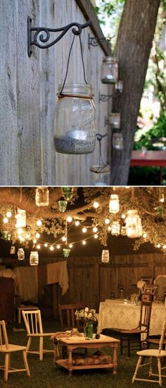 Adorn your backyard tree with string lights and hanging mason jar tea lights.