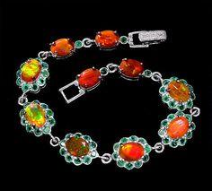 925 Sterlingsilber Natural facettiert Äthiopish Feueropale Smaragde Armband