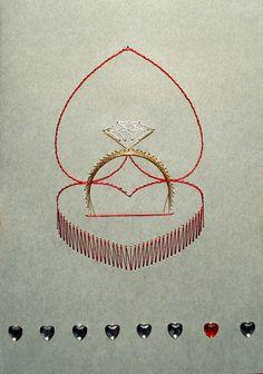 Stitching Patterns, Card Patterns, Embroidery Patterns, String Crafts, String Art, Paper Embroidery, Horseshoes, Ova, Brittany
