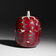 Lot 192: Yoichi Ohira. vase. 2001, internally decorated glass with wheel-carved surface. 5½ dia x 8¼ h in. estimate: $15,000–20,000. This unique work was executed with Maestro Livio Serena. Incised to underside: [Yoichi Ohira Mo L. Serena Mo G. Barbini 1/1 Unico Friday 19-01-2001 Murano].