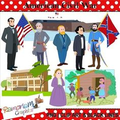 Civil War Clip art set depicting the prominent figures and elements of the American Civil War. Each image is PNG & 300dpi in Black & White, colored with colored outlines, colored with black outlines.
