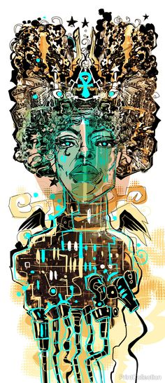 """""""Ankh"""" is part of the Black Kriby Series created by John Jennings. Jennings is an illustrator, designer, curator, and scholar who researches identity in popular culture through the comics medium. His"""