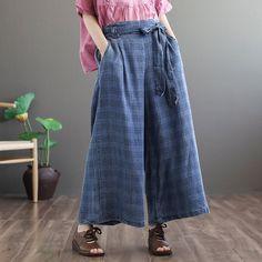 """Item Type: PantsMaterial: CottonStyle: CasualSeason: Summer, SpringWaist Type: NaturalPants Style: LooseFit Type: LoosePants Closure Type: ElasticOne Size: M, LM Length: cm/ """"Hip: """"Waist: """"Thigh: cm/ """"LLength: cm/ """"Hip: cm/ """"Waist: """"Thigh: cm/ """" Baggy Pants, Loose Pants, Wide Leg Pants, Trousers, Plaid Pants, Denim Pants, Loose Fit, Bell Bottom Pants, Bell Bottoms"""