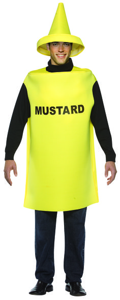 #306 Everything tastes better with mustard, including you!  Comfortably made to be light weight and worn over your clothing,  this mustard costume is a spicy and fun way to dress up for your next event.  You'll be the best condiment ever on your next barbecue or summer event!  Watch out though for people who prefer Ketchup! #summerevent #barbeque #party #halloween